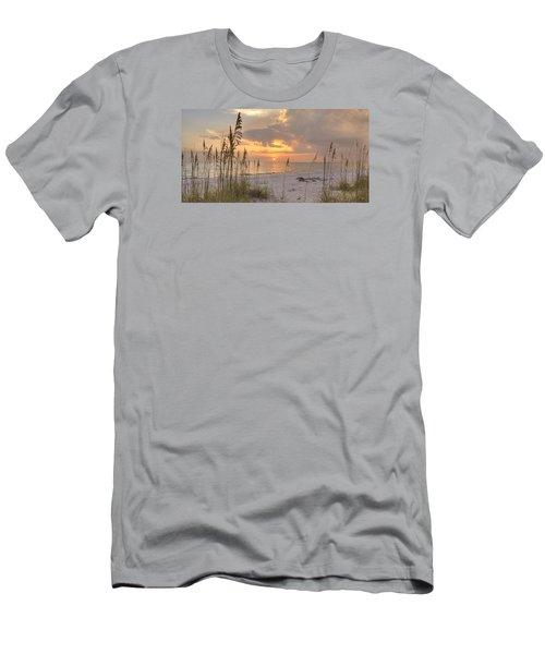 Beach Grass Sunset Men's T-Shirt (Slim Fit) by Sean Allen