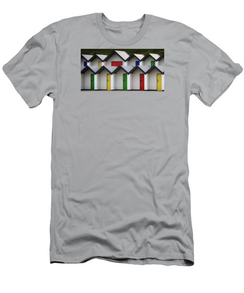 Beach Huts Men's T-Shirt (Slim Fit) by Shirley Mitchell
