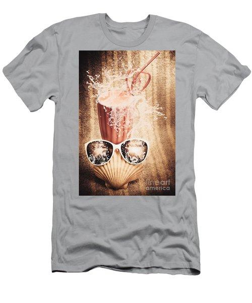 Beach Milkshake With A Strawberry Splash Men's T-Shirt (Athletic Fit)