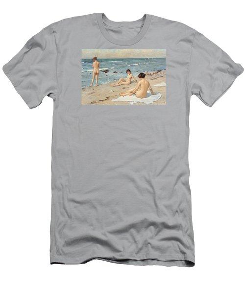 Beach Scenery With Bathing Women Men's T-Shirt (Slim Fit) by Paul Fischer