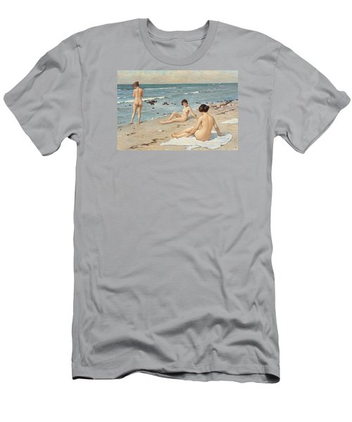 Beach Scenery With Bathing Women Men's T-Shirt (Athletic Fit)