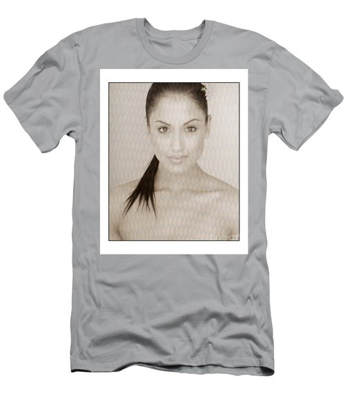 Men's T-Shirt (Slim Fit) featuring the photograph Beautiful Brunette In Studio by Michael Edwards