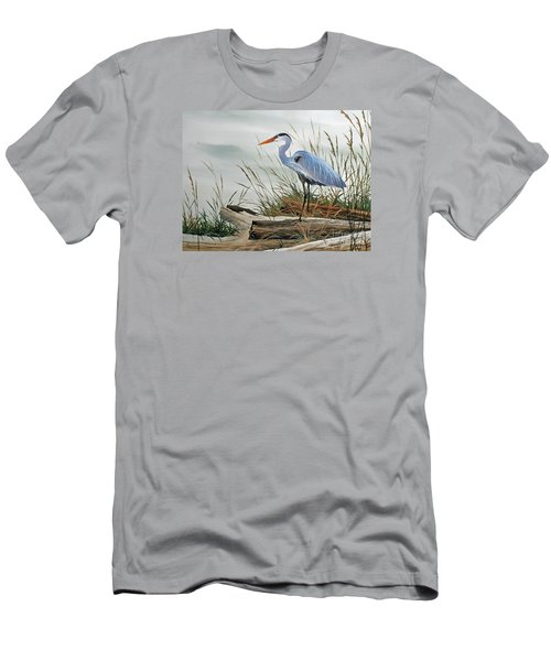 Beautiful Heron Shore Men's T-Shirt (Slim Fit) by James Williamson