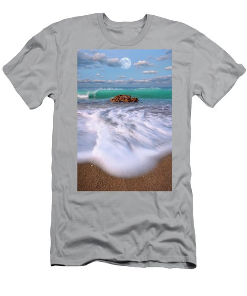 Beautiful Waves Under Full Moon At Coral Cove Beach In Jupiter, Florida Men's T-Shirt (Athletic Fit)