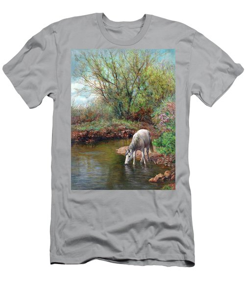 Beautiful White Horse And Enchanting Spring Men's T-Shirt (Athletic Fit)