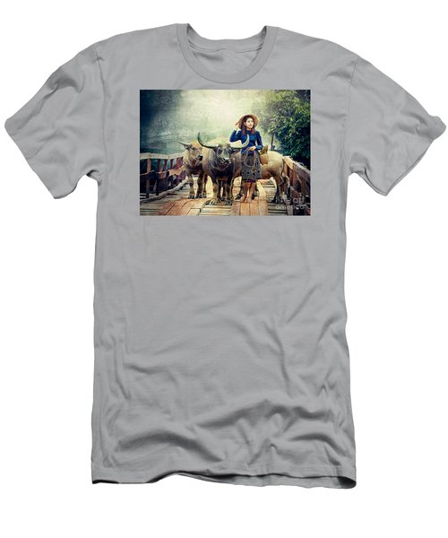 Beauty And The Water Buffalo Men's T-Shirt (Slim Fit) by Ian Gledhill