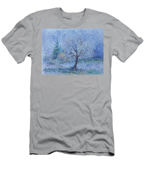 Men's T-Shirt (Slim Fit) featuring the painting Begining Of Another Winter by Anna  Duyunova