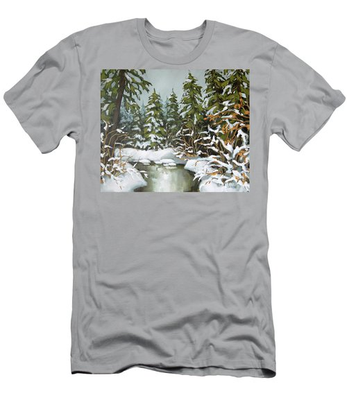 Men's T-Shirt (Slim Fit) featuring the painting Behind The River Bend by Inese Poga