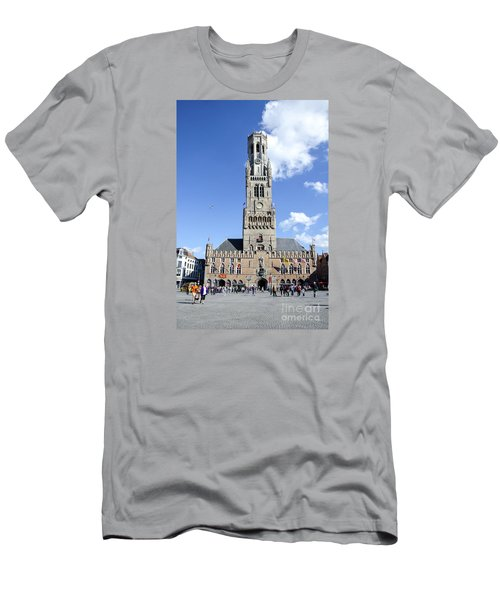 Men's T-Shirt (Slim Fit) featuring the photograph Belfry Of Bruges by Pravine Chester