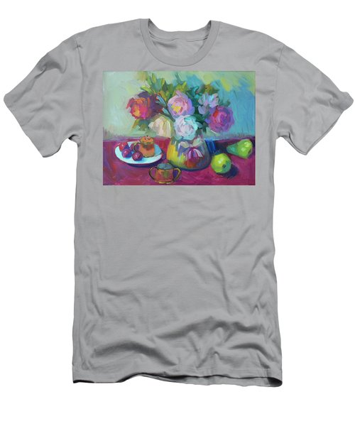 Men's T-Shirt (Slim Fit) featuring the painting Belgian Creamer And Sugar by Diane McClary