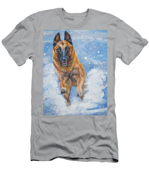 Belgian Malinois In Snow Men's T-Shirt (Athletic Fit)