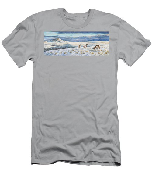Men's T-Shirt (Slim Fit) featuring the painting Belt Butte Winter by Kim Lockman