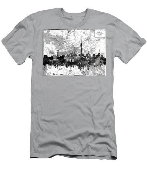 Berlin City Skyline Vintage 2 Men's T-Shirt (Slim Fit) by Bekim Art