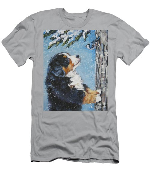 bernese Mountain Dog puppy and nuthatch Men's T-Shirt (Slim Fit) by Lee Ann Shepard