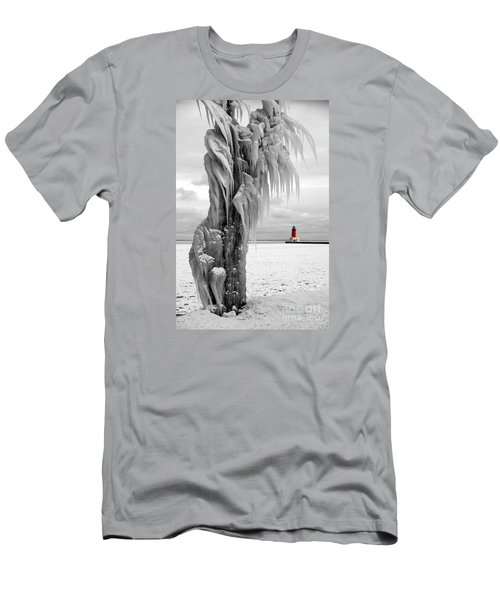 Men's T-Shirt (Slim Fit) featuring the photograph Beyond The Ice Reaper's Grasp -  Menominee North Pier Lighthouse by Mark J Seefeldt