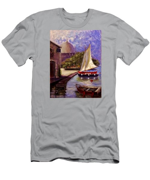 Men's T-Shirt (Slim Fit) featuring the painting Bienvenue A Yvoire.. by Cristina Mihailescu