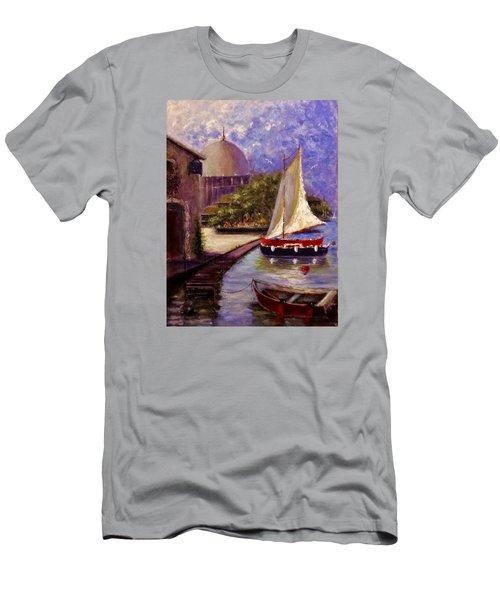Bienvenue A Yvoire.. Men's T-Shirt (Slim Fit) by Cristina Mihailescu