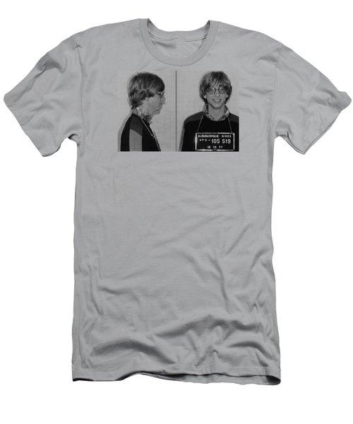 Bill Gates Mug Shot Horizontal Black And White Men's T-Shirt (Slim Fit) by Tony Rubino