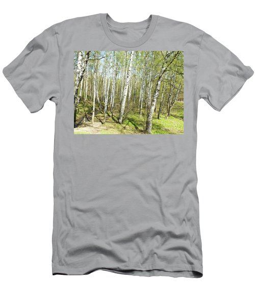 Birch Forest In Spring Men's T-Shirt (Slim Fit) by Irina Afonskaya