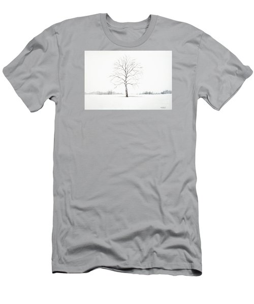 Birch Tree Upon The Winter Plain Men's T-Shirt (Athletic Fit)