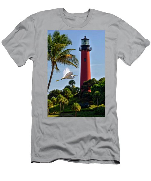 Bird In Flight Under Jupiter Lighthouse, Florida Men's T-Shirt (Athletic Fit)
