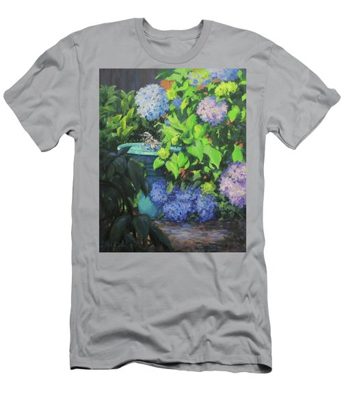 Men's T-Shirt (Slim Fit) featuring the painting Birdbath And Blossoms by Karen Ilari