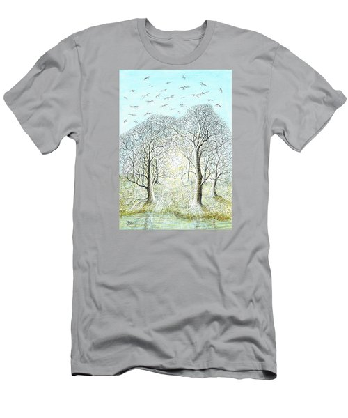 Birds Swirl Men's T-Shirt (Slim Fit) by Charles Cater