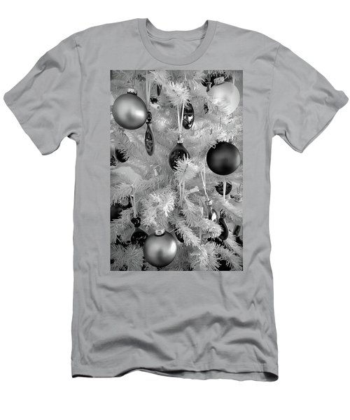 Men's T-Shirt (Athletic Fit) featuring the photograph Black And White Christmas Tree Ornaments by Aimee L Maher Photography and Art Visit ALMGallerydotcom