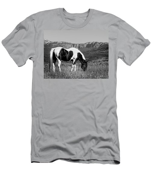 Black And White Horse Grazing In Wyoming In Black And White  Men's T-Shirt (Athletic Fit)