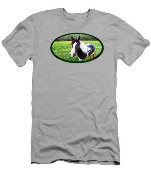 Black And White Horse-natural Setting Men's T-Shirt (Athletic Fit)
