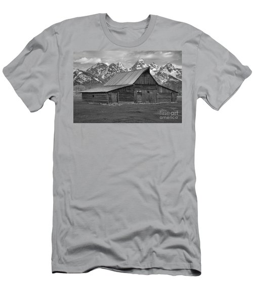Black And White Mormon Row Barn Men's T-Shirt (Slim Fit) by Adam Jewell