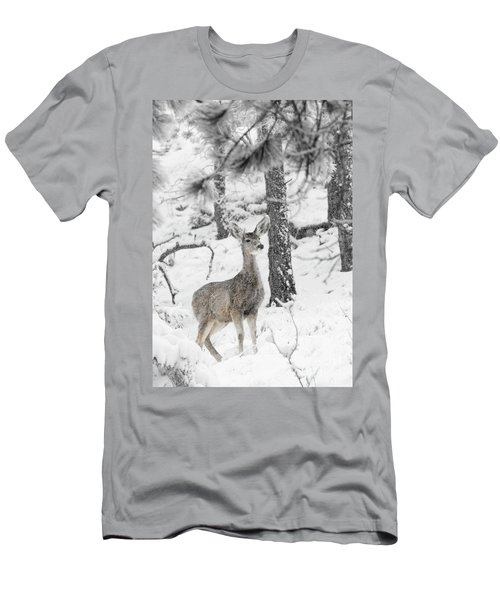 Black And White Mule Deer In Heavy Snowfall Men's T-Shirt (Athletic Fit)