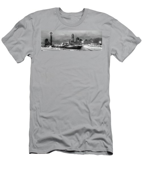 Black And White Panorama Of Downtown Dallas Skyline From South Houston Street - Dallas North Texas Men's T-Shirt (Athletic Fit)