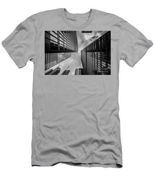 Men's T-Shirt (Slim Fit) featuring the photograph Black And White Skyscraper by MGL Meiklejohn Graphics Licensing