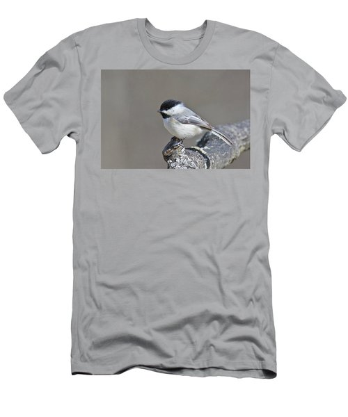 Men's T-Shirt (Slim Fit) featuring the photograph Black Capped Chickadee 1128 by Michael Peychich