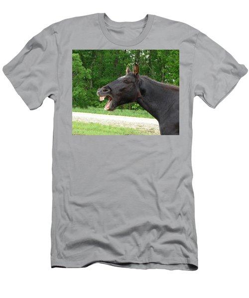 Black Horse Laughs Men's T-Shirt (Slim Fit) by Jana Russon
