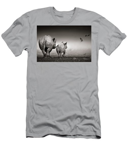 Black Rhino Cow With Calf  Men's T-Shirt (Athletic Fit)