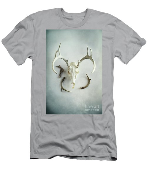 Bleached Stag Skull Men's T-Shirt (Slim Fit) by Stephanie Frey