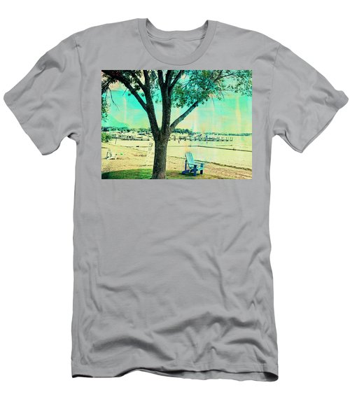 Men's T-Shirt (Slim Fit) featuring the photograph Blue Beach Chair by Susan Stone