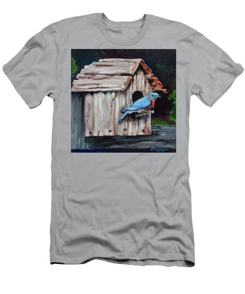 Men's T-Shirt (Athletic Fit) featuring the painting Blue Bird On Lake Odom by Jan Dappen