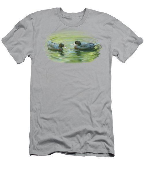 Men's T-Shirt (Athletic Fit) featuring the painting Blue Ducks  by Ivana Westin
