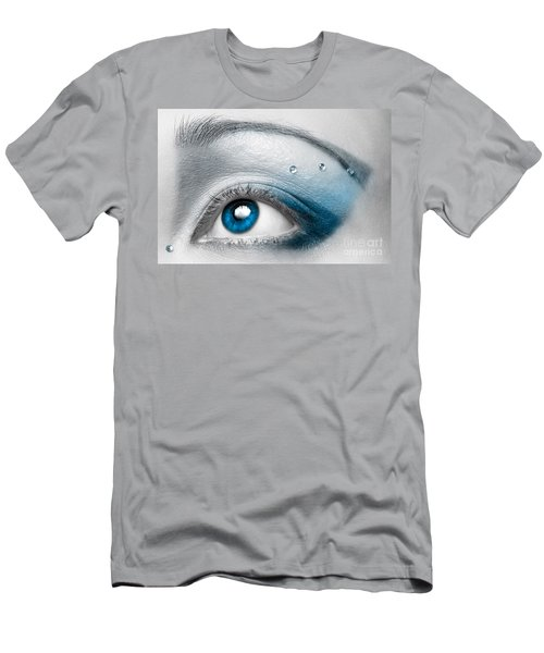 Blue Female Eye Macro With Artistic Make-up Men's T-Shirt (Athletic Fit)