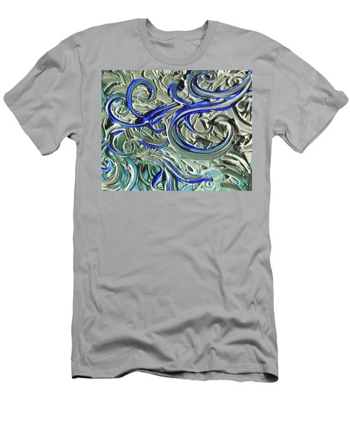 Blue Gray Acrylic Brush Strokes Abstract For Interior Decor II Men's T-Shirt (Athletic Fit)