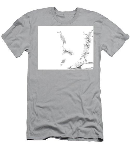 Blue Heron Minimal Sketch Men's T-Shirt (Athletic Fit)
