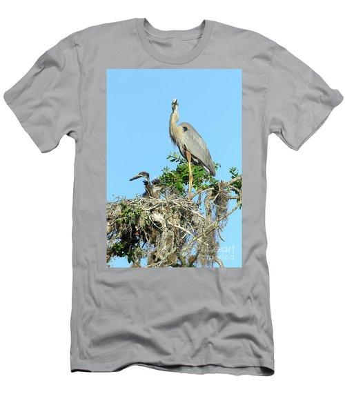 Men's T-Shirt (Slim Fit) featuring the photograph Blue Heron Series Baby 2 by Deborah Benoit