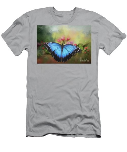 Blue Morpho On A Blossom Men's T-Shirt (Slim Fit) by Eva Lechner