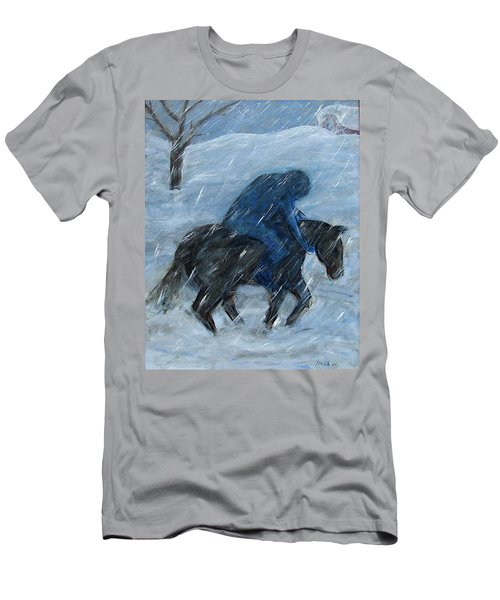 Blue Rider On Horse Men's T-Shirt (Athletic Fit)
