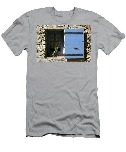 Men's T-Shirt (Athletic Fit) featuring the photograph Blue Shutters by Rasma Bertz