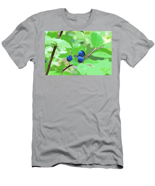 Blueberries Halftone Men's T-Shirt (Slim Fit) by Cathy Mahnke