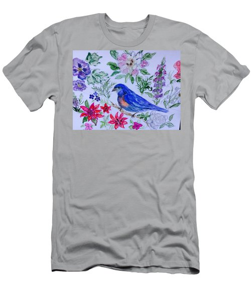 Bluebird In A Garden Men's T-Shirt (Athletic Fit)
